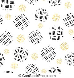 Seamless pattern with circle and a line handrawn structure on a light background. Vector repeating illustration.