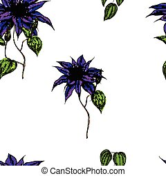 Seamless pattern with clematis, leaves and stems on white background. Vector Illustration