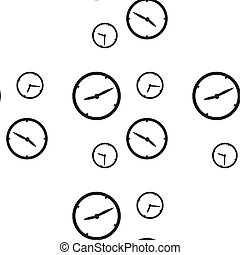Seamless pattern with clocks showing different time isolated...