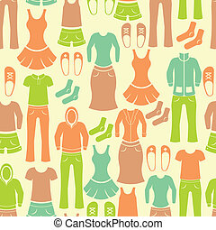 Seamless pattern with clothing - Seamless retro pattern with...