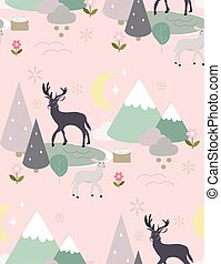 seamless pattern with clouds and deers.