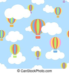 Seamless pattern with clouds and different colors cartoon aerostats flying in the sky.