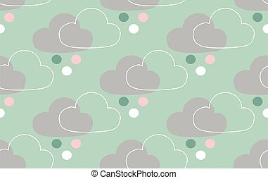 seamless pattern with clouds and spots.