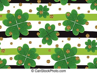 Seamless pattern with clover leaves, gold glitter textured circles on the striped background.