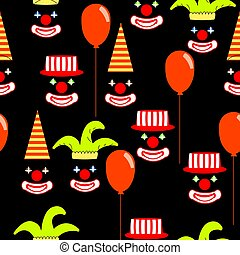 seamless pattern with clown face on black background