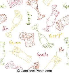 Seamless pattern with cocktails. Color outline on white background. Hand drawn elements in vector