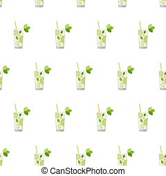 Seamless pattern with cocktails. Mojito.