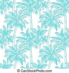 Seamless pattern with coconut palm trees