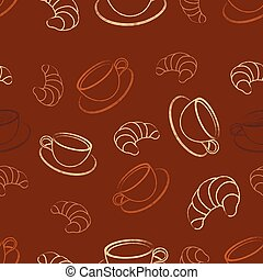 pattern with coffee and croissant