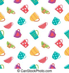 Seamless pattern with coffee and tea cups