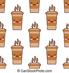 Seamless pattern with coffee cup cute kawaii characters on white background. Flat design Vector