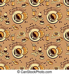 Seamless pattern with coffee cups, beans, cakes, sweets, croissant, calligraphic hand written text Enjoy the moment. Background design for cafe or restaurant menu.