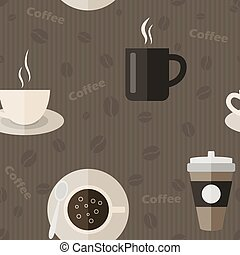 Seamless pattern with coffee icons in flat design style