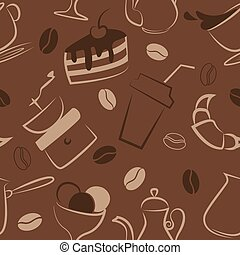 Seamless pattern with coffee signs