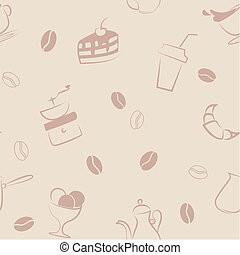 Seamless pattern with coffee symbols