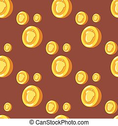 seamless pattern with coins and hazelnuts