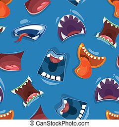 Seamless pattern with color cartoon monster mouths