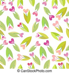 Seamless pattern with color flowers isolated on white background. Vector EPS 10.