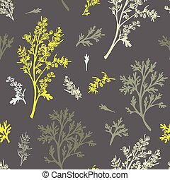 Seamless pattern with color hand drawn silhouette of wormwood, lives and flowers isolated on gray background. Retro vintage graphic design. Botanical sketch drawing