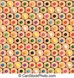 Seamless pattern with color pencils. Vector background.