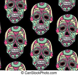 Seamless pattern with color skulls and black background