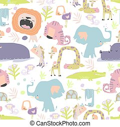 Seamless pattern with color wild animals on white background