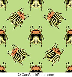 Seamless pattern with colorado potato beetle. Leptinotarsa decemlineata.   colorado beetle.  hand-drawn colorado beetle. Vector