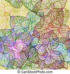 Seamless pattern with colored abstract leaf. Vector illustration, EPS10