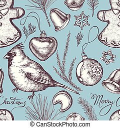 Seamless pattern with colored bells, decorations, cardinal,...