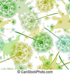 Seamless pattern with colored dandelions and spots of paint. Endless floral texture of delicate coloring. Vector illustration of spring dandelion flower.