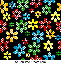 Seamless pattern with colored dotted flowers