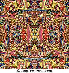 Seamless pattern with colored ethnic motifs patches