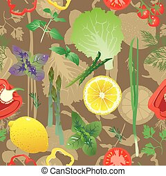 Seamless pattern with colored greens