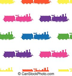 Seamless pattern with colored locomotives on white background.