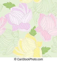seamless pattern with colored  lotus