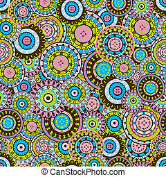 Seamless pattern with colored oriental ornaments
