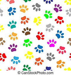 Seamless pattern with colored paws - Colorful paw prints of ...