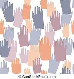 Seamless pattern with colored people hand prints
