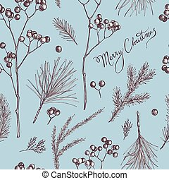 Seamless pattern with colored rowan, lettering, pine branch,...