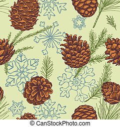 Seamless pattern with colored snowflakes, cones, pine...