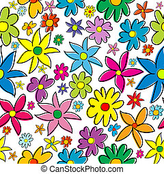 Seamless pattern with colored stylized flowers