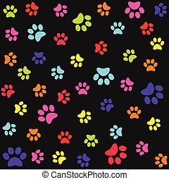 Seamless pattern with colorful animal foot prints, paws