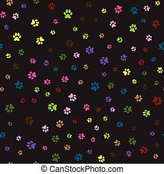 Seamless pattern with colorful animal foot prints. Vector.