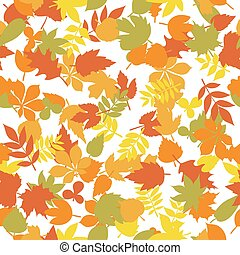 Seamless pattern with colorful autumn leaves on white background. Cute background