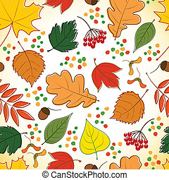 Seamless pattern with colorful autumn leaves