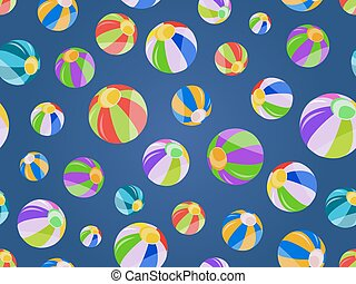 seamless pattern with colorful beach balls on blue background