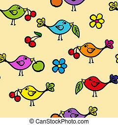 Seamless pattern with colorful bird
