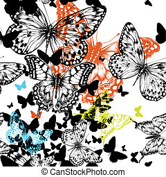 Seamless pattern with colorful butterflies, hand drawing. Vector illustration.