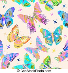 Seamless pattern with colorful butterflies. Vector illustration
