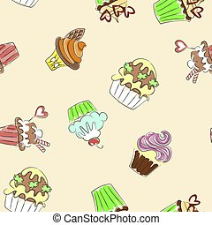 Seamless Pattern With Colorful Cupcakes